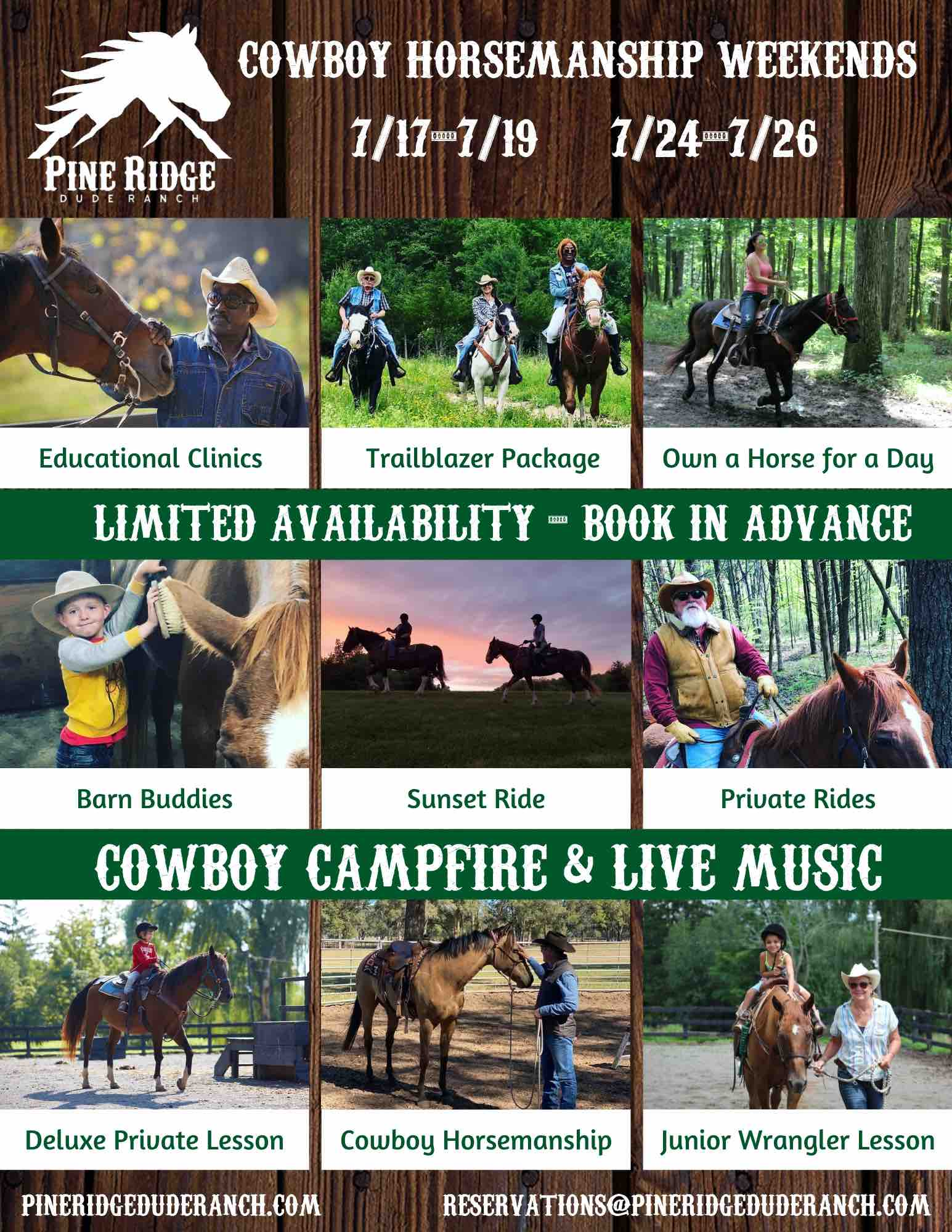 cowboy horsemanship promotion with dates and classes