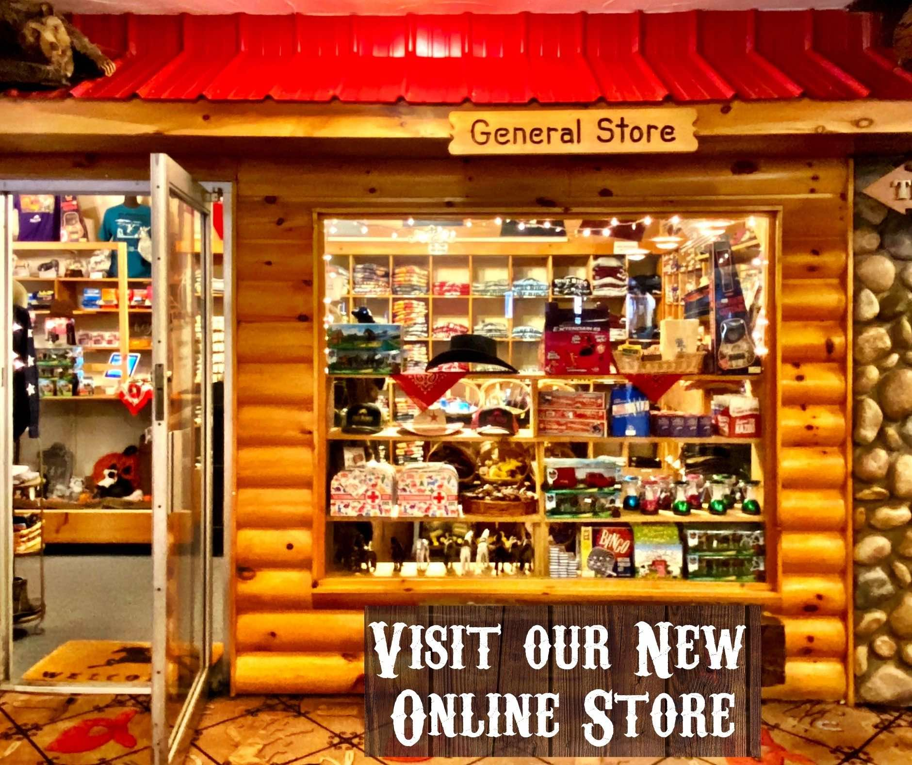 """general store with wooden log cabin exterior and red roof looking in on a store full of merchandise with title """"Visit our new online store"""""""