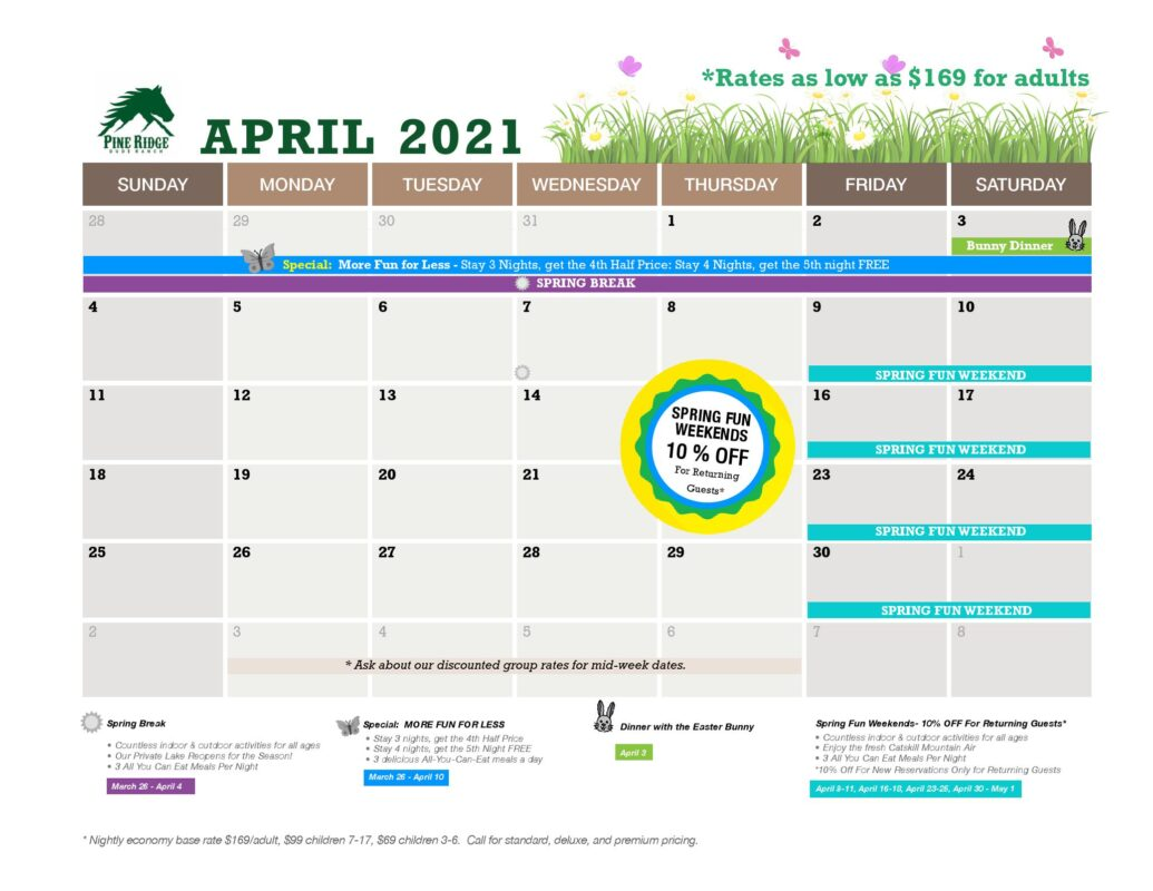 april calendar rates and promotions