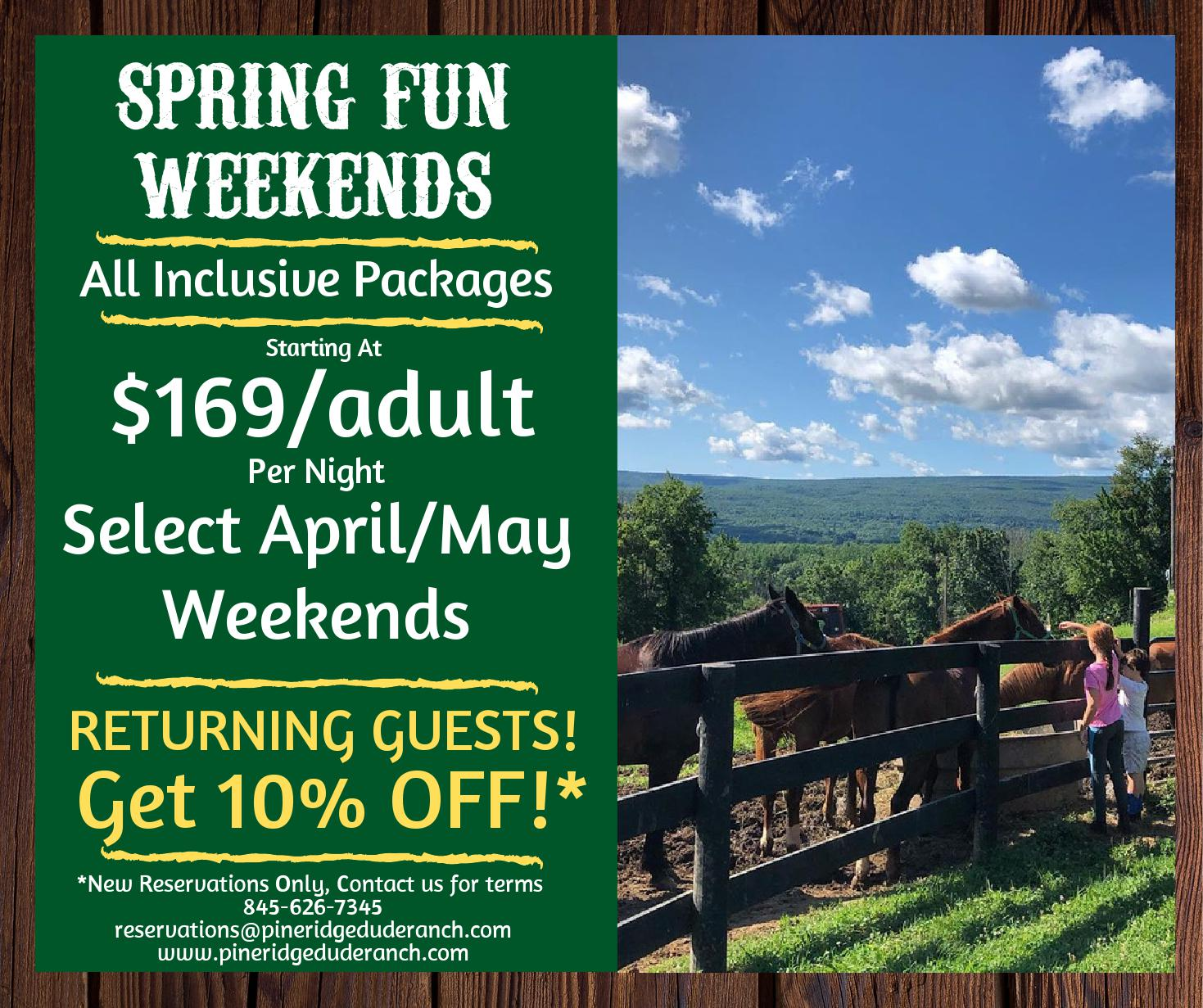 two school aged girls petting horses through a fence overlooking the mountain horizon, spring fun weekends all inclusive packages starting at 169 an adult per night select april may weekends plus returning guests get 10% off.