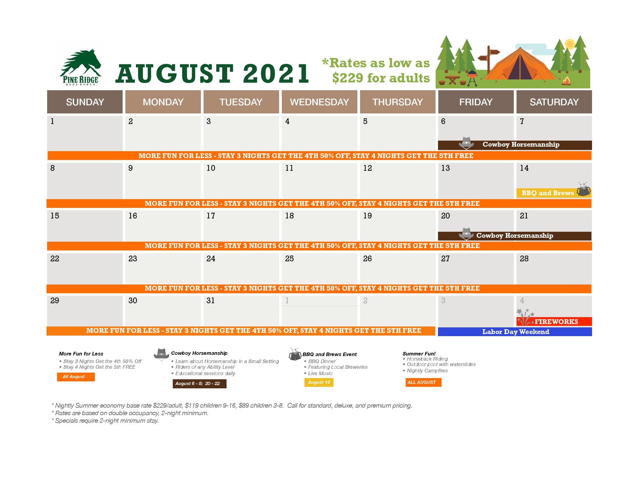 august calendar and promotions