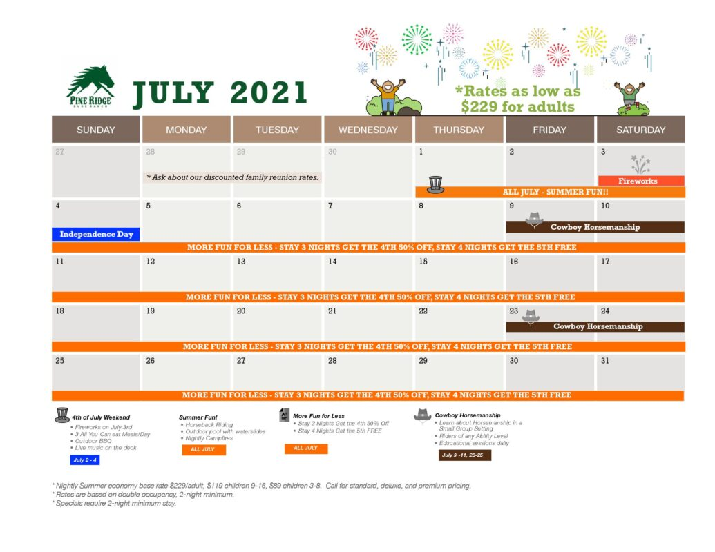 july calendar and promotions