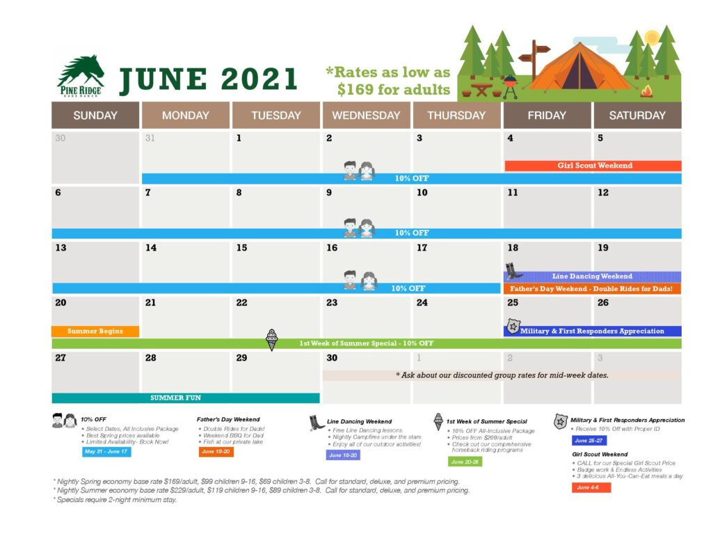 june calendar and promotions