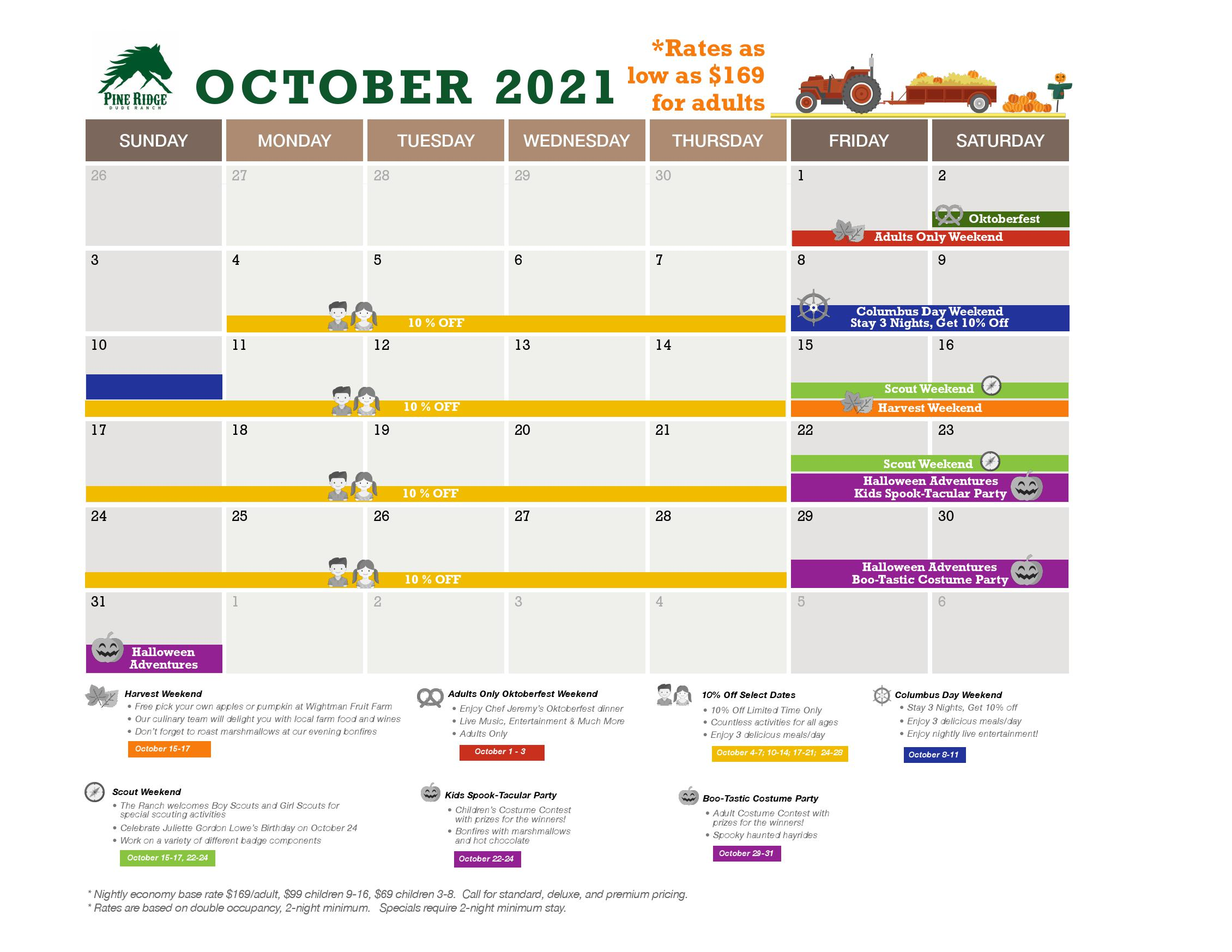 october calendar and promotions