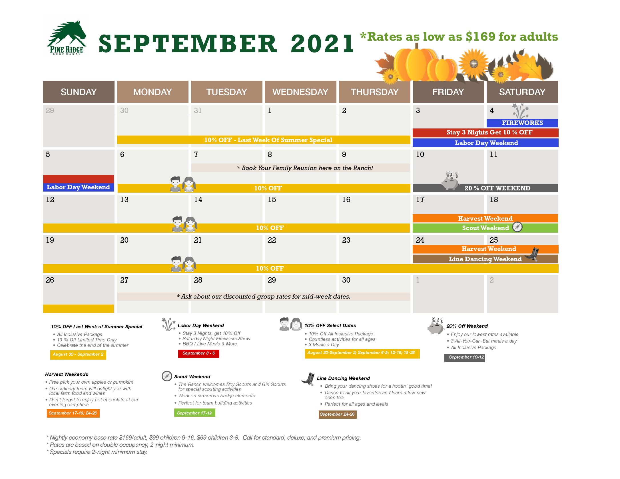 september calendar and promotions