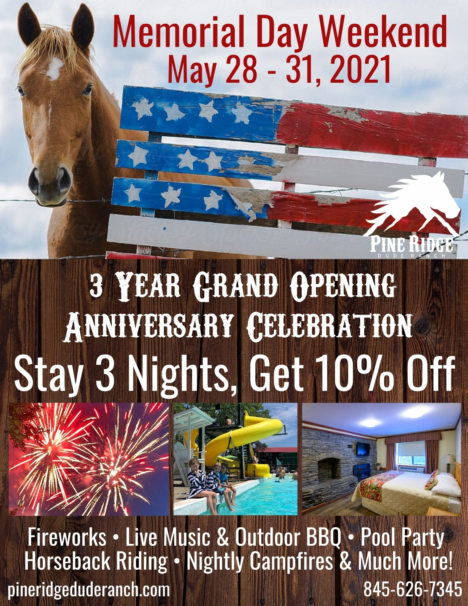 memorial day promotion may 28-31, 2021. stay 3 nights get 10% off, fireworks, live music and outdoor bbq, pool party, horseback riding, nightly campfires,