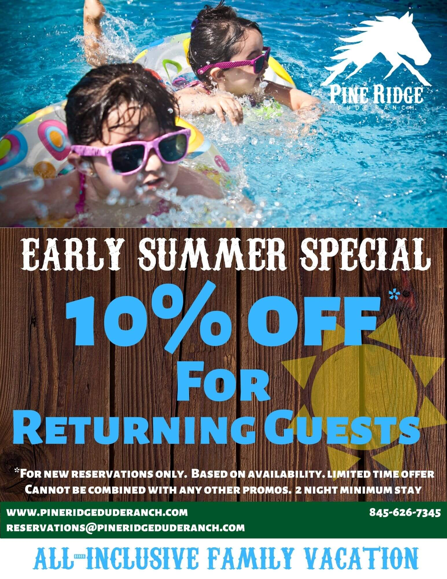 early summer special, 10%off for returning guests, two toddlers in pool on floaties with pink glasses
